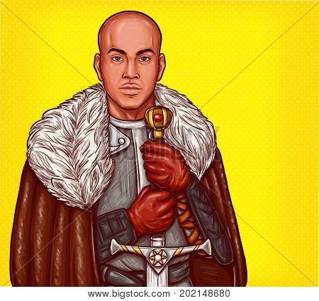 Vector pop art illustration of a medieval knight in steel armor and winter fur cloak with an iron sword in his hands.