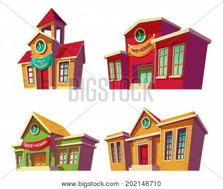 Set of vector illustrations cartoon of various color old, retro educational institutions, schools isolated on white background. Template, design element, print.