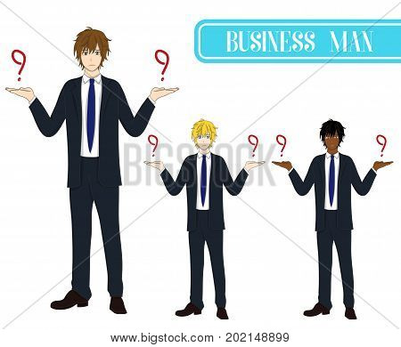 Set Handsome Business Man Making Selection with Serious Face. Full Body Vector Illustration. isolated on White Background