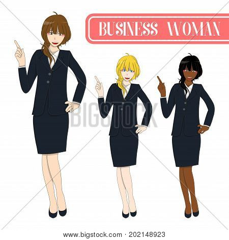Set Cute Business Woman Pointing Up. Full Body Vector Illustration. isolated on White Background