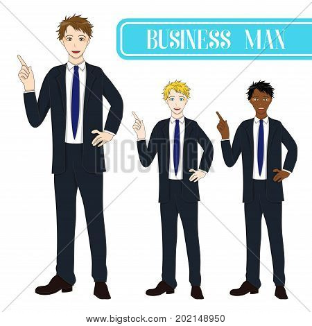 Set Handsome Business Man Pointing Up. Full Body Vector Illustration. isolated on White Background