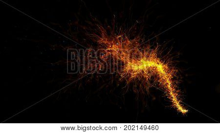 3d rendered gold particle trail background. Abstract detailed particles structure. Particles are emitted from a point that forms wave trajectory.