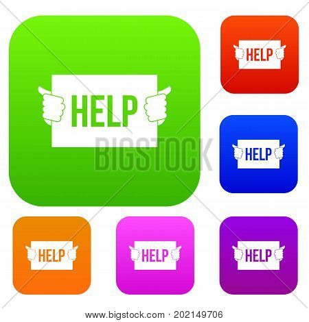 Help set icon in different colors isolated vector illustration. Premium collection