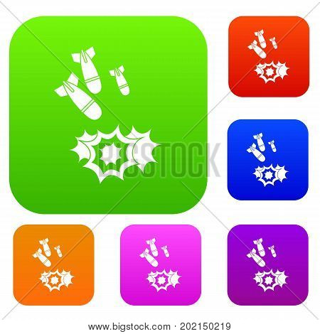 Bomb set icon in different colors isolated vector illustration. Premium collection