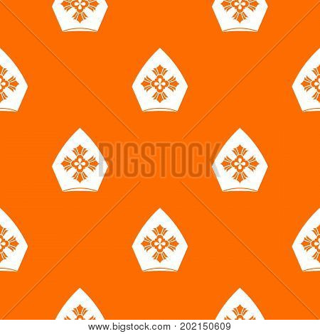 Christian hat pattern repeat seamless in orange color for any design. Vector geometric illustration