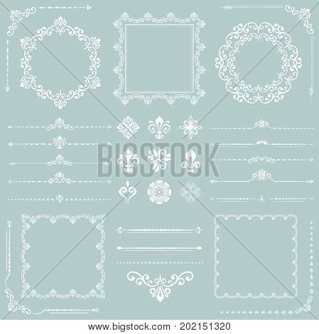 Vintage set of vector horizontal, square and round white elements. Different elements for decoration design, frames, cards, menus, backgrounds and monograms. Classic patterns. Set of vintage patterns