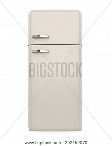 Retro Refrigerator isolated on white background. 3D render