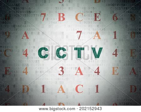 Security concept: Painted green text CCTV on Digital Data Paper background with Hexadecimal Code
