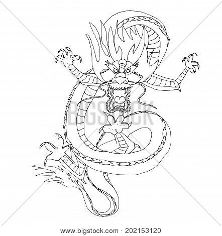 China dragon dancing. Black and white image on mythological animal. Can be used as adult coloring book.
