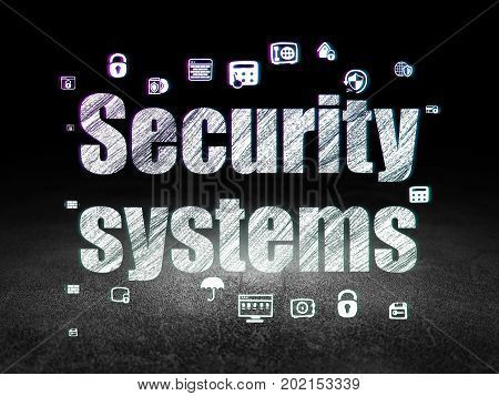 Security concept: Glowing text Security Systems,  Hand Drawn Security Icons in grunge dark room with Dirty Floor, black background