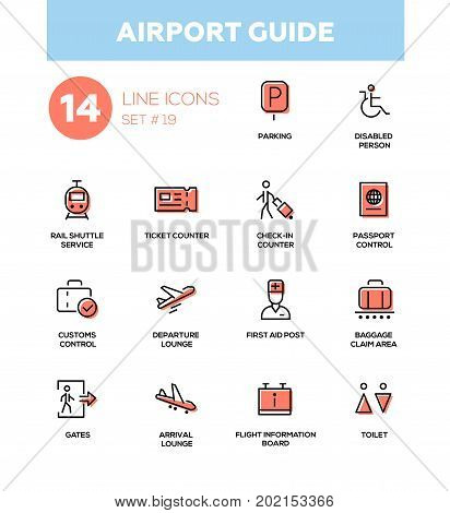 Airport guide - modern vector icons, pictograms set. Parking, lobby, ticket, check-in, passport, customs, departure, arrival lounge, flight info board, baggage claim area, gate, toilet, first aid post