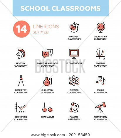 School classrooms - modern vector icons, pictograms set. Biology, geography, history, foreign language, IT, algebra, geometry, chemistry, physics, music, economics, astronomy, gym, plastic arts room