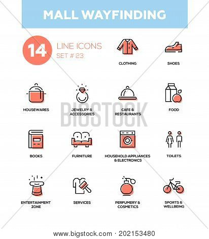 Mall wayfinding - modern vector icons, pictograms set. Clothing, shoes, houseware, accessories, cafe, food, books, furniture, electronics, cosmetics, entertainment zone, toilets, services, sports
