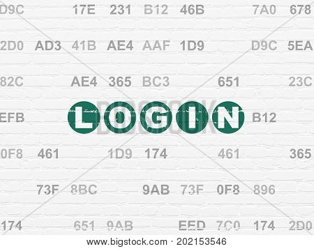 Protection concept: Painted green text Login on White Brick wall background with Hexadecimal Code