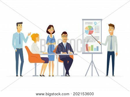 Business Meeting - vector illustration of an office situation. Cartoon people characters of young men, women at work. Male colleague making presentation, showing charts, reporting, training staff