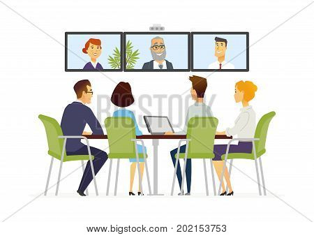 Distance Meeting - vector cartoon people characters illustration. Business scene with male, female office workers group communicating via computer software with other staff members in conference room