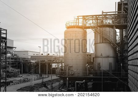 Petrochemical industry plant with monotone effect, vintage style for background