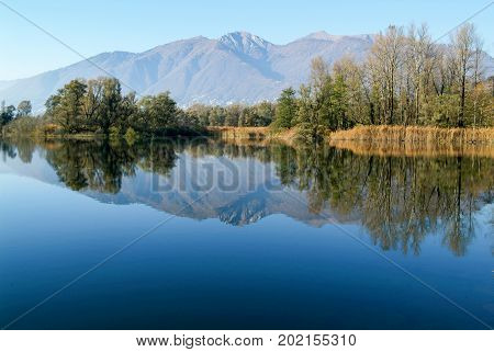 River Ticino On Magadino Plain