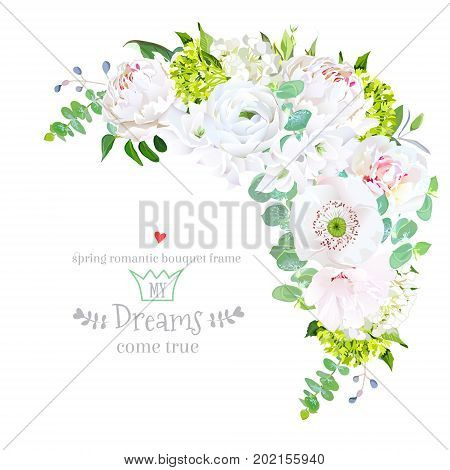 Stylish floral crescent shaped vector design frame with rose, hydrangea, peony, papaver, ranunculus, freesia, white layered hibiscus, green eucalyptus. Wedding template. All elements are isolated