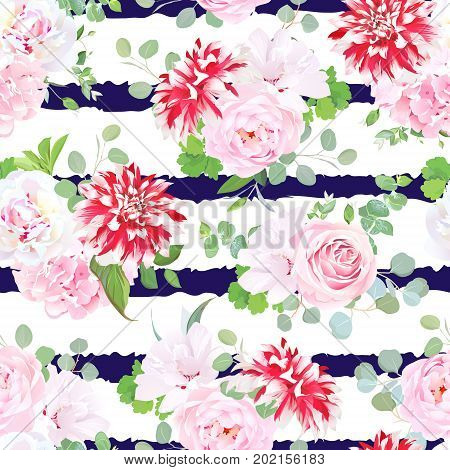 Navy striped print with bouquets of pink rose, white peony, hydrangea, red speckled dahlia, layered hibiscus and eucalyptus leaves. Seamless vector pattern. All elements are isolated and editable