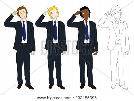Set Handsome Business Man Thinking to Make Decision. Full Body Vector Illustration. isolated on White Background