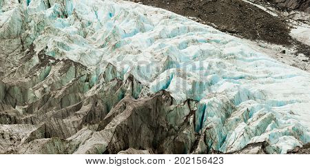 Climate Change, Melting Glacier Ice With Crevasses