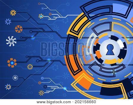Cyber Security Concept Vector Illustration. Keyhole On Multicolor Technology Circle  Background.