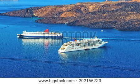 cruise liner near calderas closeup, Santorini, Greece
