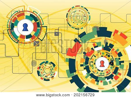 Cyber Security Concept Vector Illustration. Shield With Keyhole On Multicolor Technology Circle  Bac