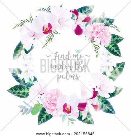 Round tropical invitation frame arranged from palms, orchid, pink hidrangea, hibiscus. Green, emerald exotic leaves vector design set. Golden sun flares and luminous light. All elements are isolated