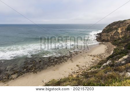 Secluded Dume Cove at Point Dume State Beach in Malibu, California.