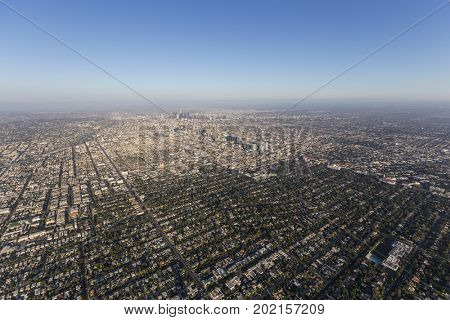 Aerial view of Hancock Park, Koreatown and downtown Los Angeles in Southern California.