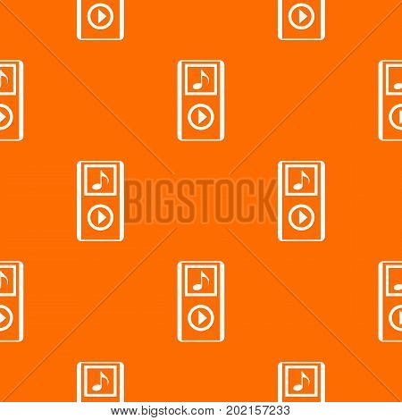 Mini MP3 portable player pattern repeat seamless in orange color for any design. Vector geometric illustration