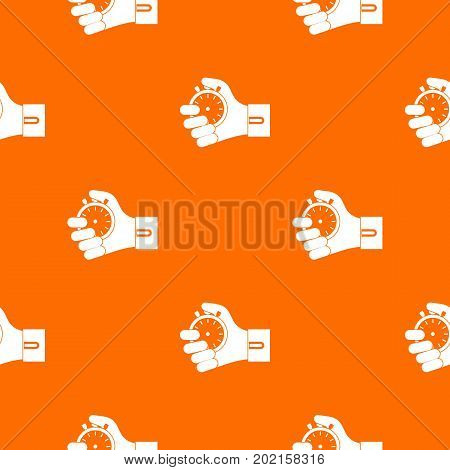 Hand holding stopwatch pattern repeat seamless in orange color for any design. Vector geometric illustration