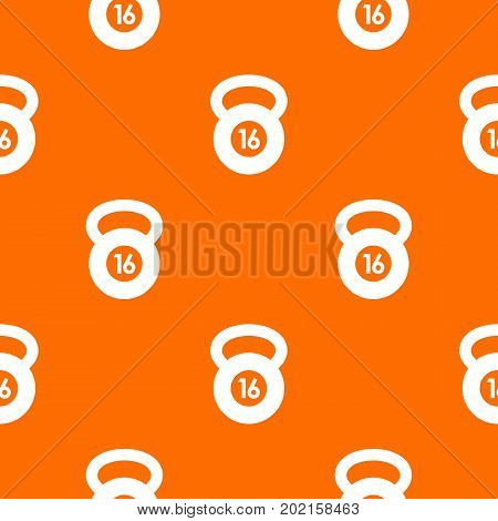 Kettlebell pattern repeat seamless in orange color for any design. Vector geometric illustration