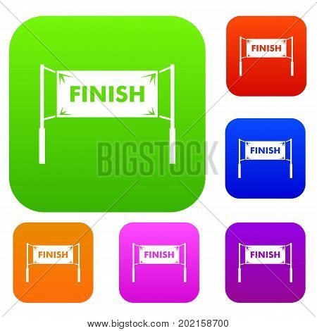 Finish line gates set icon in different colors isolated vector illustration. Premium collection