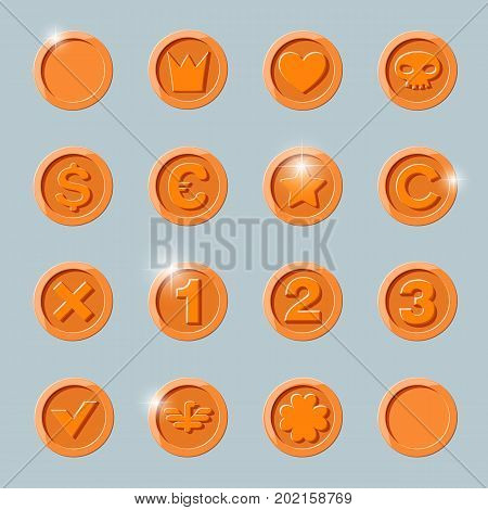 copper coins set. copper coin isolated on dark background. copper coin, flat vector illustration.