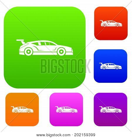 Rally racing car set icon in different colors isolated vector illustration. Premium collection