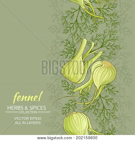 fennel vegetable vector pattern on color background