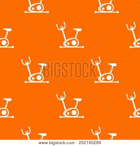 Exercise bike pattern repeat seamless in orange color for any design. Vector geometric illustration