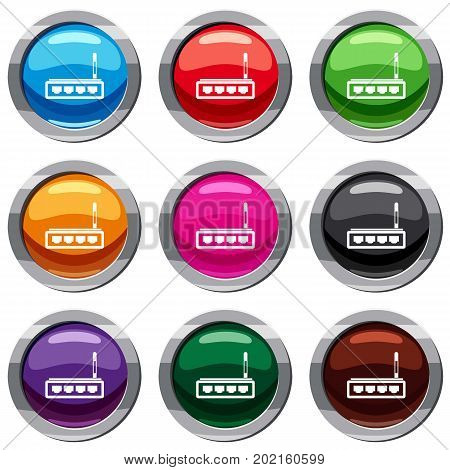 Router set icon isolated on white. 9 icon collection vector illustration