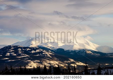 Winter Mountain Range Landscape Of Yukon T Canada