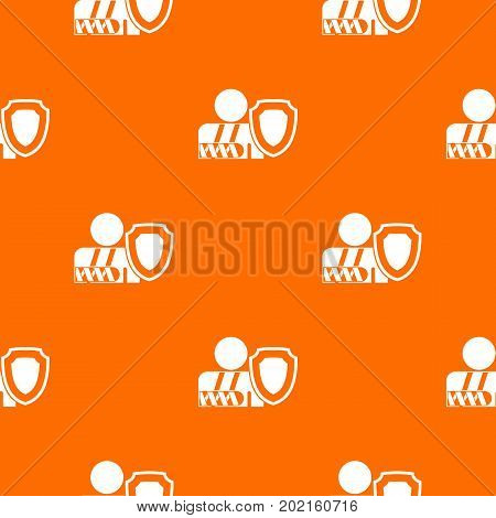 Broken arm and safety shield pattern repeat seamless in orange color for any design. Vector geometric illustration