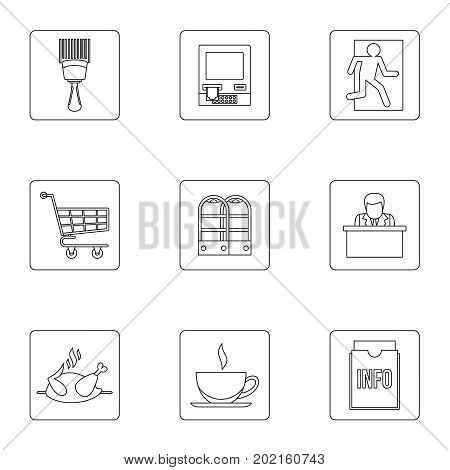 Commerce icons set. Outline illustration of 9 spam vector icons for web design