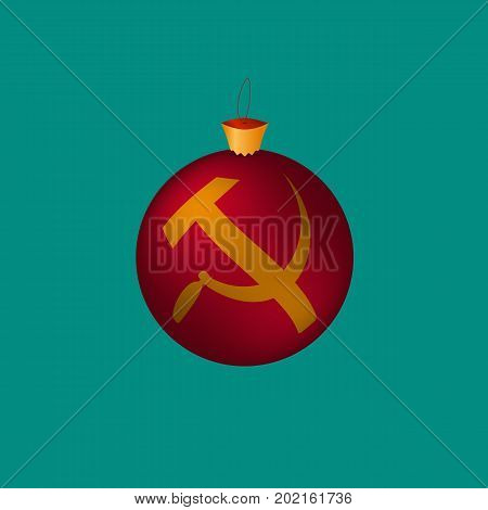 New Year. Christmas tree toy. A ball with communist symbols sickle and a hammer. Vector illustration