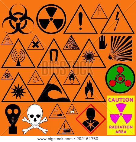 Set of hazard symbols. Biological dangerous Ionizing radiation chemical weapon poison carcinogen and other. Vector illustration