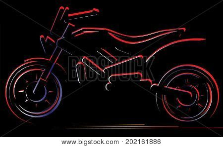 Motorcycle on black background, moto illustration, vector silhouette of bike.