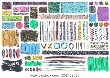 Doodles set. Scribble collection. Hand drawn effect vector. Scrawl elements. Notebook abstract drawing for your design. Simple pen or pencil scribbles. Scrawls for creative project or printed product.