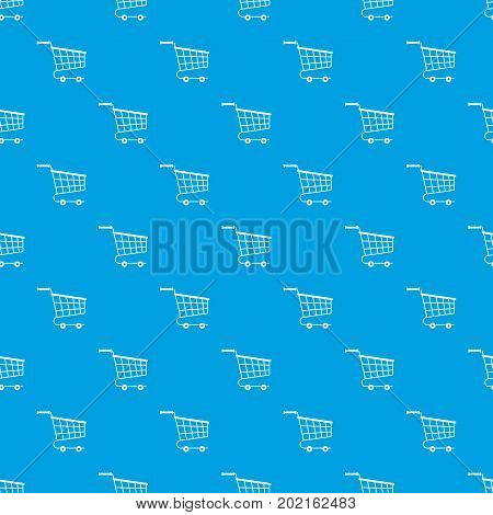 Cart pattern repeat seamless in blue color for any design. Vector geometric illustration