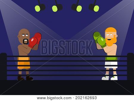 Two men are boxing. fight facing each other in match. Boxer in yellow shorts and the boxer in white trousers with big beard. vector illsutration